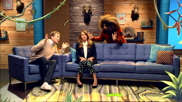 "With help from animation, Scott Aukerman and Reggie Watts encourage Rashida Jones to try eating a bug in a Season 2 ""Comedy Bang! Bang!"" episode."