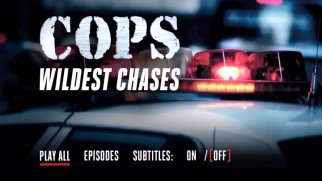 The COPS Wildest Chases DVD main menu condenses its options as much as possible.