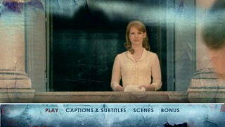 The undisputed breakthrough actress of 2011, Jessica Chastain, pops up on the DVD menu montage as Coriolanus' wife Virgilia.