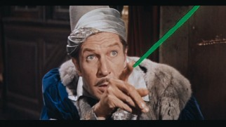 "Vincent Price shoots green laser beams from his fingers in Roger Corman's 1963 Edgar Allan Poe adaptation ""The Raven"", one of the B-movies excerpted at the documentary's conclusion."