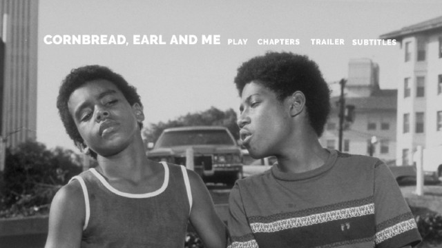 "The cover art and top menu image for ""Cornbread, Earl and Me"" are black and white, but the film is not."