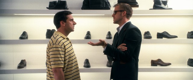 "In ""Crazy, Stupid, Love."", cool ladies' man Jacob Palmer (Ryan Gosling) schools recently-separated middle-aged Cal Weaver (Steve Carell) on fashionable footwear, among other things."