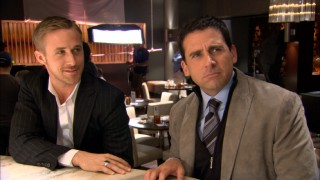 Silly answers flow when Ryan Gosling and Steve Carell are interviewed on the film's bar set.
