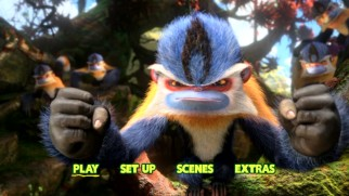 A punch monkey prepares to punch on The Croods DVD's main menu.