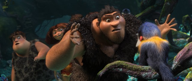 "Protective caveman patriarch Grug is unprepared for this small punch monkey's mighty face punch in DreamWorks' ""The Croods."""