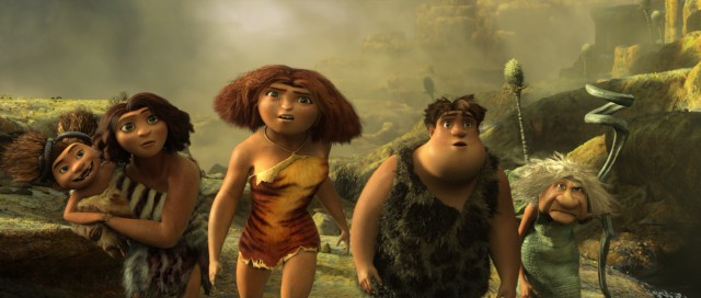"Sandy, Ugga, Eep, Thunk, and Gran are surprised to find Grug and Guy working together in ""The Croods."""