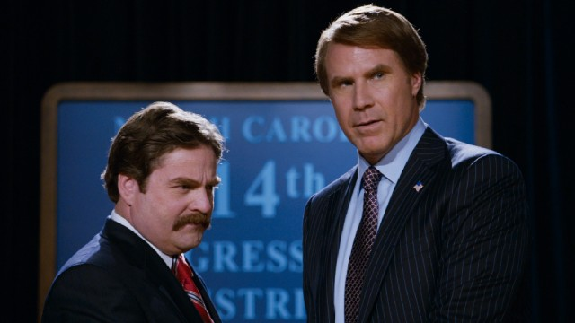 """The Campaign"" pits Republican hopeful Marty Huggins (Zach Galifianakis) against incumbent Democrat Cam Brady (Will Ferrell) for North Carolina's 14th Congressional District race."