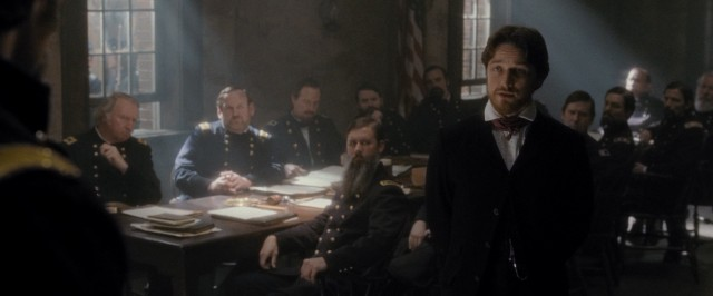 "In ""The Conspirator"", young Northern lawyer Frederick Aiken (James McAvoy) defends boarding house owner Mary Surratt in a military trial against those accused of aiding in the assassination of President Lincoln."
