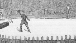 "An illustration depicts John Wilkes Booth in his famous post-assassination proclamation in ""The Conspirator: Mary Surratt and the Plot to Kill Lincoln."""