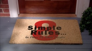 "No mere welcome, the doormat lays out the series' title ""8 Simple Rules... for Dating My Teenage Daughter."" Wonder how W. Bruce Cameron feels about people wiping their feet on his rules."