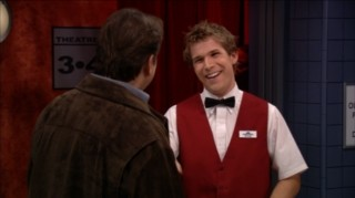 "Bridget's sometimes-boyfriend Kyle (Billy Aaron Brown) takes a job as movie usher, complete with bow tie, in ""Two Boys For Every Girl."""