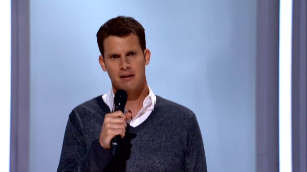 "Daniel Tosh tackles sports, religion, and more in his second hour-long Comedy Central special, ""Daniel Tosh: Happy Thoughts."""