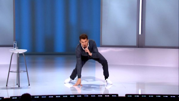 Daniel Tosh crouches into position to reassure those opposed to gay marriage that no law can stop Heaven's defense line from upholding the sanctity of the afterlife.
