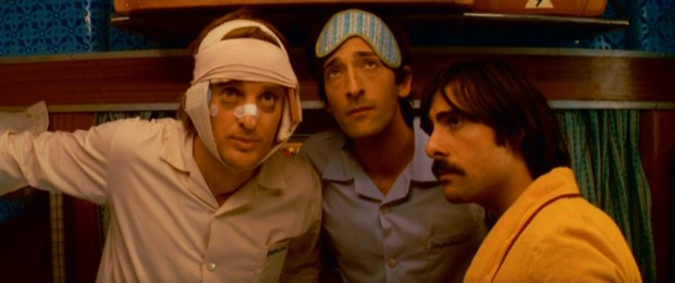 The Whitman Brothers -- Francis (Owen Wilson), Peter (Adrien Brody), and Jack (Jason Schwartzman) -- take a whiff of Voltaire #6, the fictitious perfume Jack's ex-girlfriend has snuck into his suitcase.