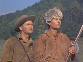 Buddy Ebsen (left) is George Russel, while Fess Parker plays Davy Crockett, king of the wild frontier.