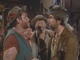 "Davy faces off with Mike Fink in ""Davy Crockett and the River Pirates."""