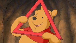 "Winnie the Pooh illustrates a triangle in ""Shapes & Sizes"", an Annie Award-nominated, Dave Bossert-directed volume of Disney Learning Adventures."