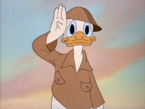 "Donald Duck's trying years in World War II were at the foreground of ""Walt Disney on the Front Lines"", an award-winning Walt Disney Treasures DVD set which Dave Bossert produced."