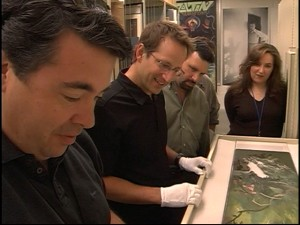 "The efforts of Dave Bossert (left) and other members of Disney's Restoration Team are the subject of the featurette ""Restoring 'Bambi.'"""
