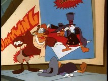 "Darkwing can't see where he's headed when Megavolt blinds him in ""Duck Blind."""
