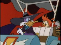 "Darkwing and Gosalyn travel back in time to the hero's past in ""Paraducks."""