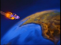"Baby Darkwing flies in a rocket ship to earth in a scene highly reminiscent of 1978's ""Superman""."