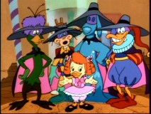 Negaverse Gosalyn accompanied by four of the not-so-fearsome five: Bushroot, Megavolt, the Liquidator, and Quackerjack.