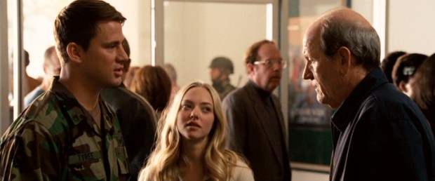 At their airport parting, John (Channing Tatum) and Savannah (Amanda Seyfried) are joined by Mr. Tyree (Richard Jenkins), making a rare appearance outside his home.