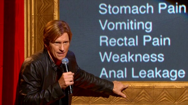 "In ""Douchebags and Donuts"", Denis Leary is still as angry as ever about everything from prescription drug side effects (seen here) to old men on Facebook."