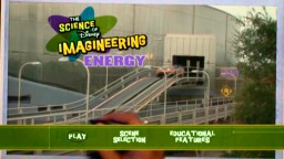 A hand with a pen brings to life an indoor/outdoor crossover point from Epcot's Test Track on the Science of Disney Imagineering: Energy DVD main menu.