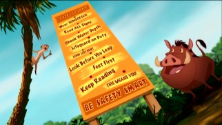 "Timon and Pumbaa learn there are a whole lot of rules to heed when safely going ""In the Water!"""