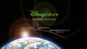 As on Earth's DVD, we get an outer space look at the sun's movement near the Earth on the main menu for Disneynature: Predator and Prey.