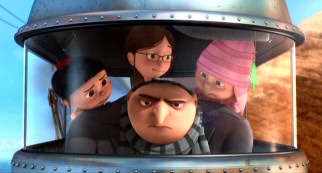 Gru (voiced by Steve Carell) becomes an unlikely father to cookie-selling orphan girls Agnes, Margo, and Edith.