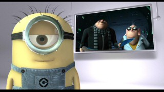 One of the minions appears for a bit of mischief unrelated to the film playing alongside him via Gru-Control.