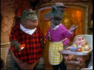 Earl, Fran, and Baby Sinclair: a new modern Stone Age family.