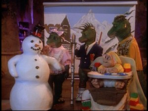 The part of Earl appears to be played by a snowman in this Sinclair family photo shoot.