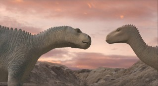 Setting sky backdrop to airy gazes in profile. Can only mean one thing: dino love!