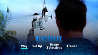 Dinoshark's most ludicrous kill, chomping a CGI helicopter to its doom, makes an appearance on the DVD's main menu.