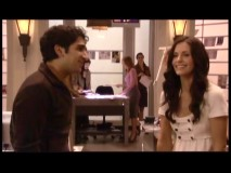 Ankur Bhatt (Kenny) and Courteney Cox share a laugh in the very short gag reel.