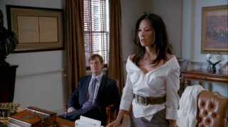 "Lawyers Nick George (Peter Krause) and Nola Lyons (Lucy Liu) clash both in and out of judge's chambers throughout the second season of ""Dirty Sexy Money."""