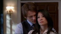 Jeremy (Seth Gabel) and Nola (Lucy Liu) enjoy a steamy romance, notwithstanding her prosecution of his mother for murder.