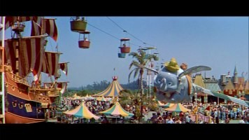 "Disneyland 50 years ago, as seen in the People and Places film ""Disneyland U.S.A."" The landscape may have changed (farewell Skyway and giant pirate ship), but the principles remain largely the same today, as does the still-popular Dumbo the Flying Elephant ride."