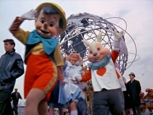 Animated Disney characters march out in three dimensions before the Unisphere at the 1964-65 New York World's Fair.