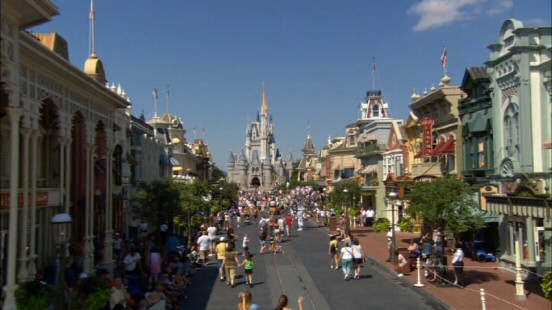 You're floating right down the middle of Main Street, USA in a shot that should be familiar to anyone who's entered Disneyland or Magic Kingdom.