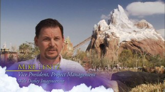 Speaking in front of the popular Expedition Everest mountain roller coaster, Mike Lentz is one of the specials' many authoritative interview subjects.