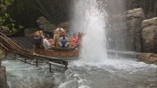 These Kali River Rapids riders are going to get wet. The only question is how wet.