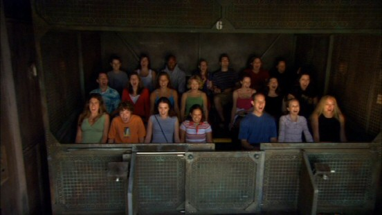 What goes up must come down, as these seventeen riders of The Twilight Zone Tower of Terror's unsettling elevator drop find out.