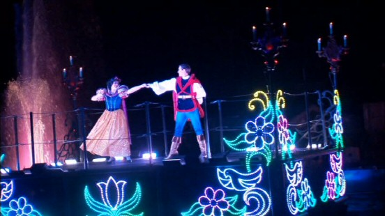Snow White and her Prince enjoy a nighttime waltz as part of Disneyland's Fantasmic!