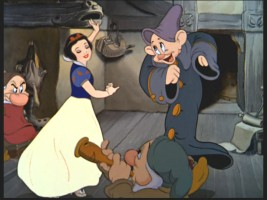 "Snow White gets jiggy with Dopey in the new princess music video ""Where Dreams Begin."""
