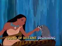 "Pocahontas energetically sings ""Just Around the Riverbend"" to her portly raccoon friend Meeko."